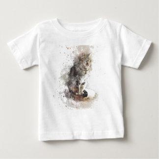 Camiseta Para Bebê Aguarela do gato de gato malhado