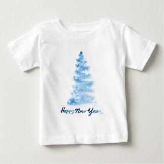 Camiseta Para Bebê Aguarela do Natal   - árvore do azul do feliz ano