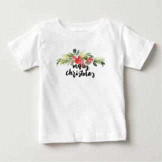 Camiseta Para Bebê Aguarela do Natal | - azevinho do Feliz Natal