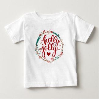 Camiseta Para Bebê Aguarela do Natal | - grinalda alegre do azevinho