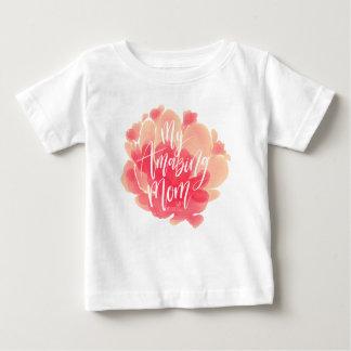 Camiseta Para Bebê Aguarela floral cor-de-rosa doce minha mamã