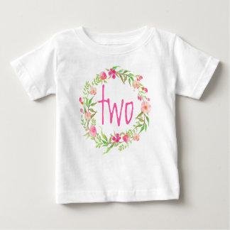 Camiseta Para Bebê Aguarela Wreath-2 floral do bebé do segundo