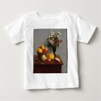 Camiseta Para Bebê Ainda vida com flores e fruta