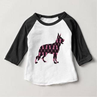 Camiseta Para Bebê Alemão-Pastor-Cancer-Fita-Preto