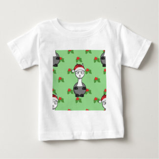 Camiseta Para Bebê alpaca do papai noel do Natal