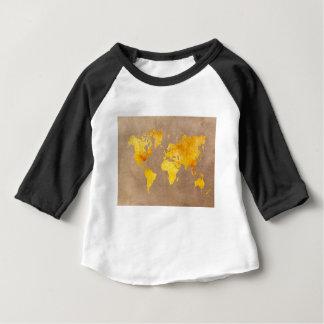 Camiseta Para Bebê amarelo do mapa do mundo