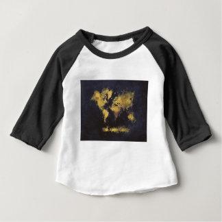 Camiseta Para Bebê amarelo preto do mapa do mundo