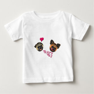 Camiseta Para Bebê ame meus pugs