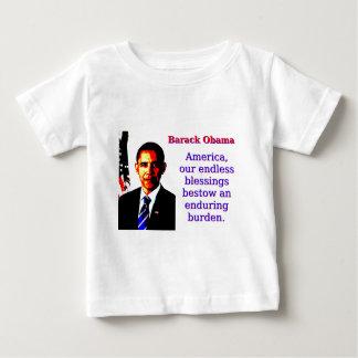 Camiseta Para Bebê América nossas bênçãos infinitas - Barack Obama