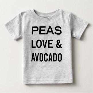 Camiseta Para Bebê Amor das ervilhas e chalaça da comida do abacate