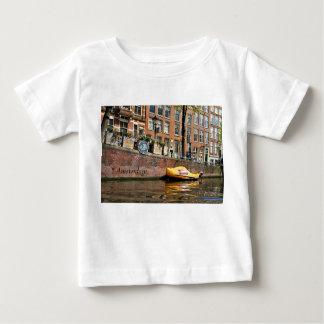 Camiseta Para Bebê Amsterdão, canal, barco de madeira dos calçados