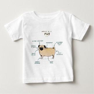Camiseta Para Bebê Anatomia de um Pug