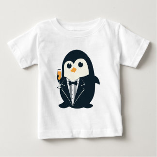Camiseta Para Bebê animal bonito do smoking do pinguim adorável