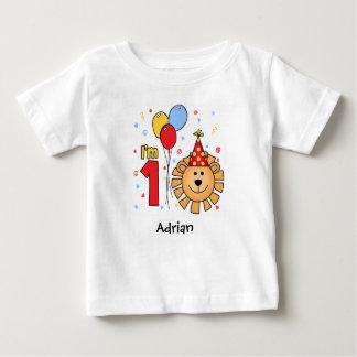 Camiseta Para Bebê Aniversário da cara do leão primeiro