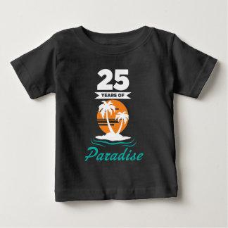 Camiseta Para Bebê Aniversário de casamento da prata tropical da
