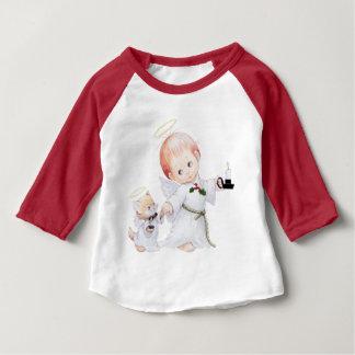Camiseta Para Bebê Anjo bonito e gato do bebê