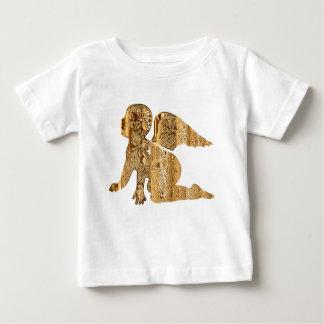 Camiseta Para Bebê Anjo pequeno dourado brilhante bonito do bebê
