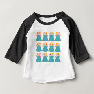 Camiseta Para Bebê Anjos bonitos azuis no branco