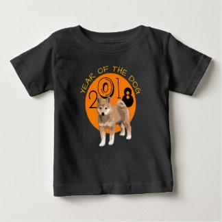 Camiseta Para Bebê Ano do inu de Shiba do T preto do bebê do cão 2018