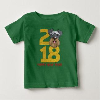 Camiseta Para Bebê Ano dos Schnauzers diminutos do ano novo do cão