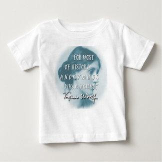 Camiseta Para Bebê Anónimo era um azul das citações de Virgínia Woolf