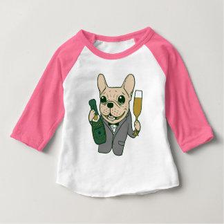 Camiseta Para Bebê Aprecie Champagne com o Frenchie em sua celebração