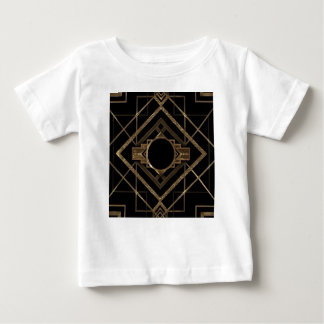 Camiseta Para Bebê Art deco, nouveau, vintage, preto, ouro, chique,