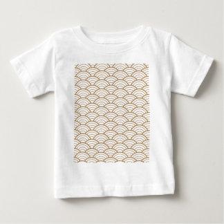 Camiseta Para Bebê art deco, teste padrão japonês do fã, ouro,