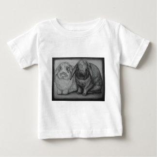 Camiseta Para Bebê Arte animal do giz do coelho do desenho do coelho