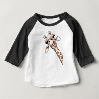 Camiseta Para Bebê Arte curiosa do girafa