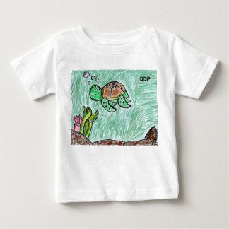 Camiseta Para Bebê arte da tartaruga de mar