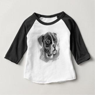 Camiseta Para Bebê Arte do cão do pugilista