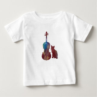 Camiseta Para Bebê Arte do gato da viola