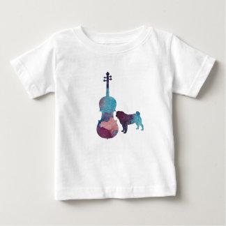 Camiseta Para Bebê Arte do pug da viola
