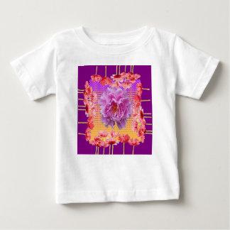 Camiseta Para Bebê arte floral roxa da peônia cor-de-rosa