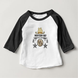 Camiseta Para Bebê arte ocidental do vaqueiro do céu