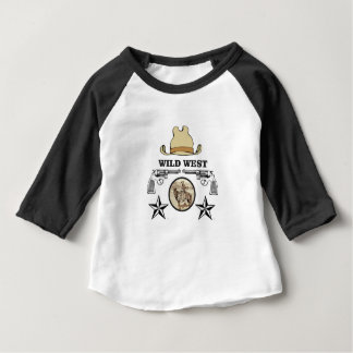 Camiseta Para Bebê arte ocidental selvagem do vaqueiro