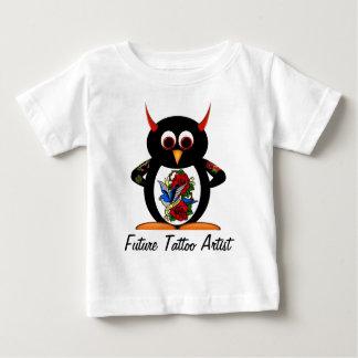 Camiseta Para Bebê Artista futuro do tatuagem do pinguim mau