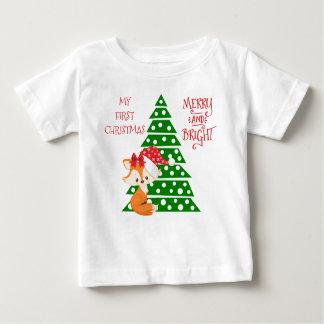 Camiseta Para Bebê Árvore adorável do Fox e de Natal