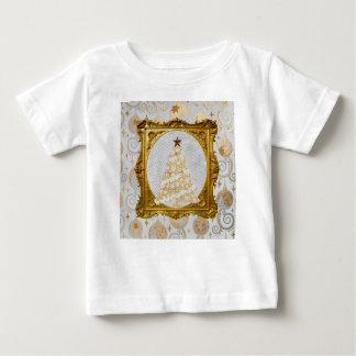 Camiseta Para Bebê Árvore bonita do laço e do floco de neve quadro no