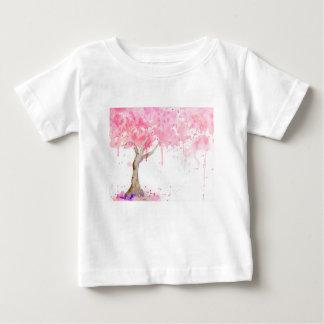 Camiseta Para Bebê Árvore cor-de-rosa abstrata da aguarela, árvore de