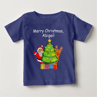 Camiseta Para Bebê Árvore de Natal com um Papai Noel & um Rudolph