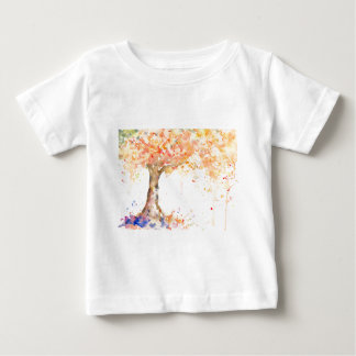 Camiseta Para Bebê Árvore dourada abstrata da aguarela