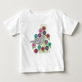 Camiseta Para Bebê As flores e o t-shirt da criança do pássaro, fazem