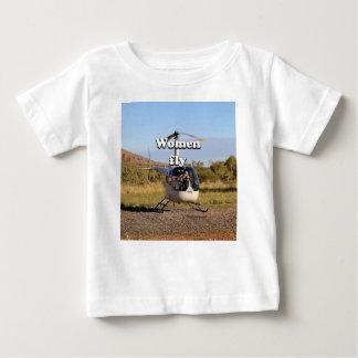 Camiseta Para Bebê As mulheres voam: Helicóptero 2 (brancos)