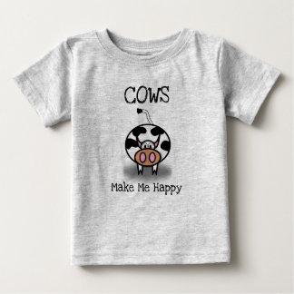 Camiseta Para Bebê As vacas fazem-me feliz