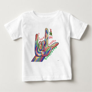 Camiseta Para Bebê ASL eu te amo sob o visco