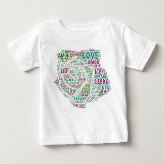 Camiseta Para Bebê Aumentou ilustrado com palavra do amor