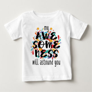 Camiseta Para Bebê Awesomeness (texto preto)
