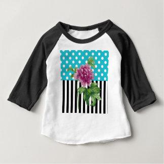 Camiseta Para Bebê Azul artística da peônia